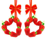 Two hearts from ripe strawberry Royalty Free Stock Photo
