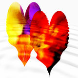 Two hearts with ripples. Two colourful hearts with ripples and white background Royalty Free Stock Images