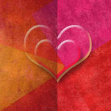 Two hearts romantic card in red tones, copy space. For message or write Royalty Free Stock Photography