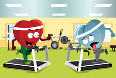 Two Hearts Running on Treadmills Royalty Free Stock Image