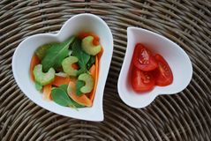 Two hearts salad Royalty Free Stock Images