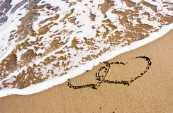Two Hearts In The Sand royalty free stock photography