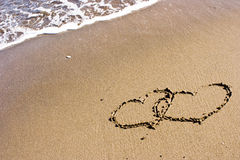 Two Hearts In The Sand stock photos