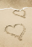 Two hearts in the sand of a beach Royalty Free Stock Photography