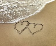 Two Hearts In The Sand Stock Images