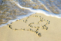 Two hearts in the sand Stock Image