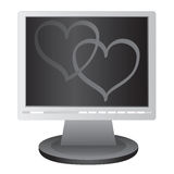 Two hearts on the screen. Royalty Free Stock Photo