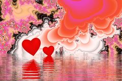 Two hearts in the sea of love. Two hearts frolick in the sea of love (fractal royalty free illustration