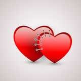 Two hearts with seam Royalty Free Stock Photos