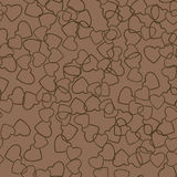 Two Hearts Seamless Pattern Love Wrapping Texture. Two hearts seamless pattern. Chocolate color pairs of heart symbols randomly placed on brown background royalty free illustration