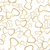 Two Hearts Seamless Pattern Romantic Wrapping Texture. Two hearts seamless pattern. Golden pairs of heart symbols randomly placed on white background. Romantic Stock Photography