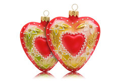 Two hearts shaped baubles with reflection Stock Photo