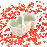 Two hearts shaped cups composition Royalty Free Stock Images