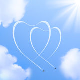 Two hearts shapes in the sky. Royalty Free Stock Image