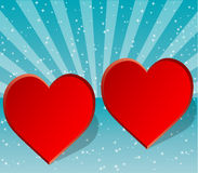 Two hearts side by side stock images