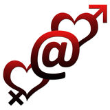 Two Hearts with At sign Stock Images