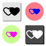 Two hearts. flat vector icon royalty free illustration