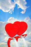 Two hearts on the sky Royalty Free Stock Photography