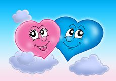 Two hearts on sky. Color illustration Royalty Free Stock Photography