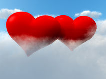 Two Hearts In Sky On Clouds Stock Photos