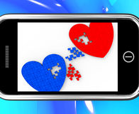 Two Hearts On Smartphone Shows Marriage Royalty Free Stock Image