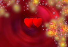 Two hearts and snow flakes. Valentine's day Royalty Free Stock Photography
