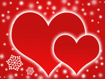 Two hearts and snow flakes. Red backgrounds Royalty Free Stock Images