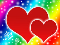 Two hearts and snow flakes. Color backgrounds royalty free illustration