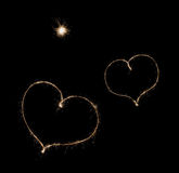Two hearts from sparkler Royalty Free Stock Image