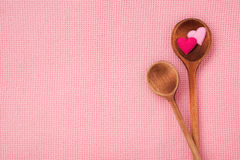 Two hearts on spoon. The way to the heart is through the stomach Royalty Free Stock Image