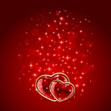 Two hearts on starry Valentines background Royalty Free Stock Photos