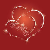 Two hearts and stars Royalty Free Stock Photos