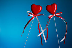 Two hearts on stick Royalty Free Stock Photography