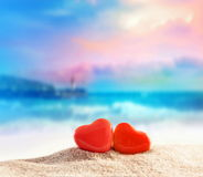 Two hearts on the summer beach Royalty Free Stock Photo