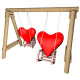 Two hearts on a swing. Valentines day illustration. Stock Photo