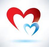 Two hearts symbol, love concept vector illustration