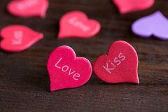 Two hearts on the table Royalty Free Stock Images
