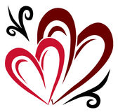 Two hearts tattoo. Tattoo of two hearts silhouettes with simple decoration Royalty Free Stock Photo