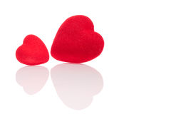 Two hearts and their reflection Royalty Free Stock Photos