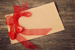 Two hearts tied red ribbon Royalty Free Stock Photos