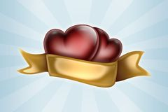 Two hearts tied with a ribbon Royalty Free Stock Photos