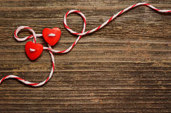 Two hearts tied Stock Photos