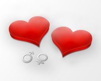 Two hearts together Stock Photo