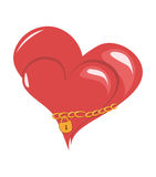 Two hearts together. Two hearts linked together by a gold chain. Vector illustration Stock Photo