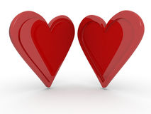 Two hearts. Together  on a white background, opposite profiles concept of opposites attract Stock Photo
