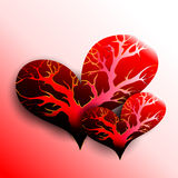 Two hearts with trees inside Stock Photography
