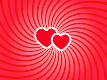 Two hearts twirl. Two white bordered hearts on the twirled background Stock Images