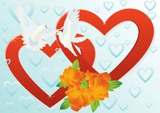 Two hearts and two doves Royalty Free Stock Photo