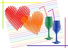 Two hearts and two glasses. Abstract illustration to the day of lovers. Two hearts and two glasses Stock Image