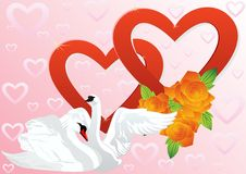 Two hearts and two swans Stock Image
